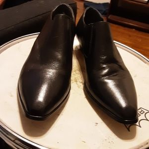 1990's shiny black leather ankle boots